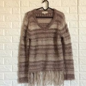 Knox rose fluffy fringed sweater